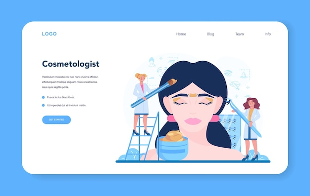 Cosmetologist concept web banner or landing page, skin care