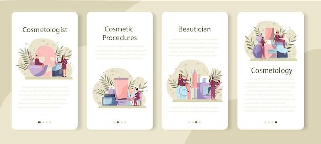 美容師のモバイルアプリケーションバナーセット、スキンケアと治療。悪い肌の問題を持つ若い女性。問題のある皮膚、皮膚科の病気。