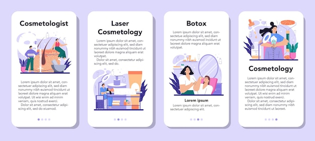 Cosmetologist mobile application banner set. skin care and treatment procedure for problematic skin. botox and laser revitaliation cosmetology. isolated vector illustration