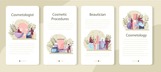 Cosmetologist mobile application banner set, skin care and treatment. young woman with bad skin problem. problematic skin, dermatology disease.