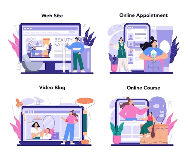 美容師のオンラインサービスまたはプラットフォームセット。スキンケアと治療手順。ボトックスとレーザー活性化美容。オンライン予約、コース、ビデオブログ、ウェブサイト。フラットベクトルイラスト