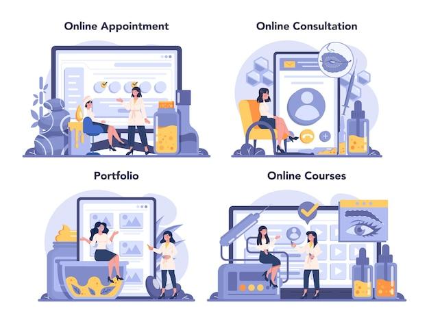 Cosmetologist online service or platform set
