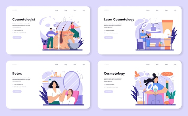 Cosmetologist web banner or landing page set. skin care and treatment procedure for problematic skin. botox and laser revitaliation cosmetology. isolated vector illustration