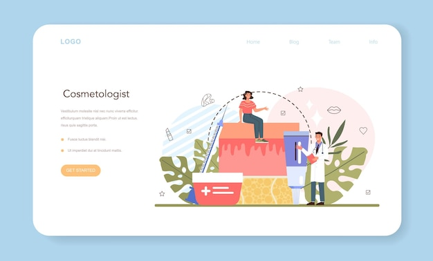 Cosmetologist web banner or landing page. skin care procedure. hardware cosmetology for problematic skin. dermatology treatment. isolated vector illustration