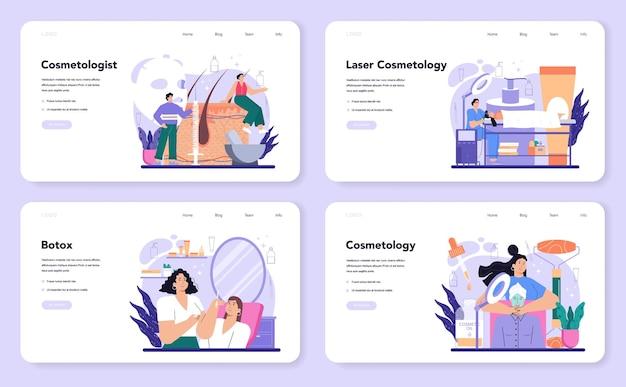 Набор веб-баннера косметолога или целевой страницы. процедура по уходу и лечению проблемной кожи. ботокс и лазерная ревитализация косметология. отдельные векторные иллюстрации