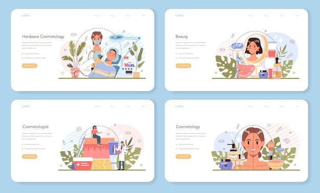 Набор веб-баннера косметолога или целевой страницы