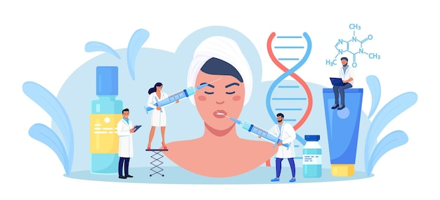 미용, 피부과. 피부 회춘을 위해 미용실에서 의사로부터 보톡스 주사 절차를 받는 여성. 미용사는 히알루론산으로 주사기를 들고 있습니다. 얼굴 주름 치료