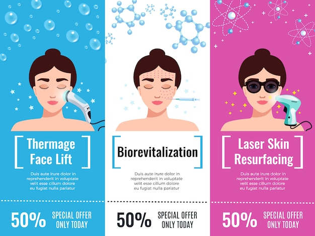Cosmetology rejuvenation treatment discount offers flat horizontal advertisement with thermal face lift isolated