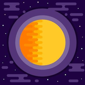 Космический фон. яркое абстрактное солнце в открытом космосе.
