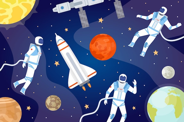 Cosmic background with astronauts. outer space with spaceship, planets, stars and spaceman exploring cosmos. cartoon universe vector banner. spaceman in universe, planet and astronaut illustration