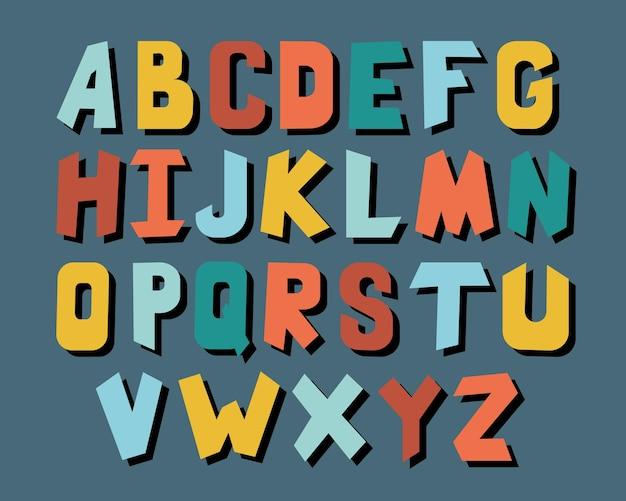 宇宙の子供たちのアルファベット、さまざまな色-ベクトルイラストeps 10