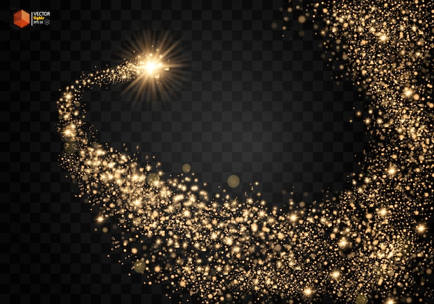 Cosmic glittering wave. gold glittering stars dust trail sparkling particles