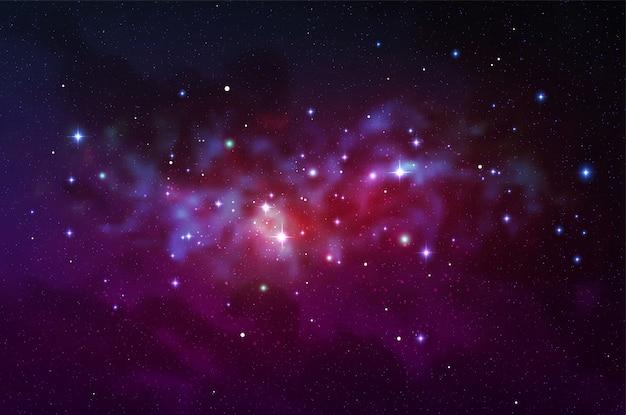 宇宙の図。星とカラフルな空間の背景