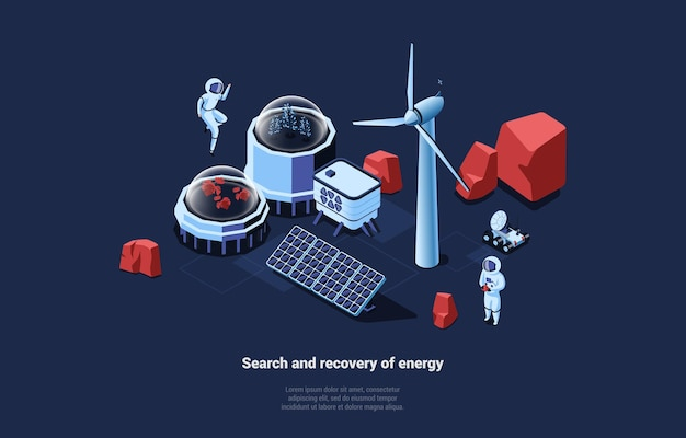 Cosmic illustration with search and recovery of energy writing on dark blue