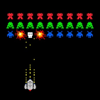 Cosmic invaders game. pixel space invader set retro style video game vector illustration with bullet and spaceship