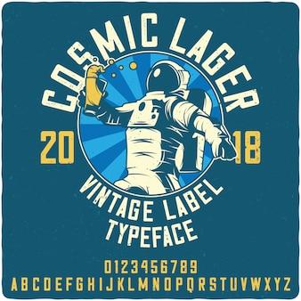 Cosmic lager vintage label font