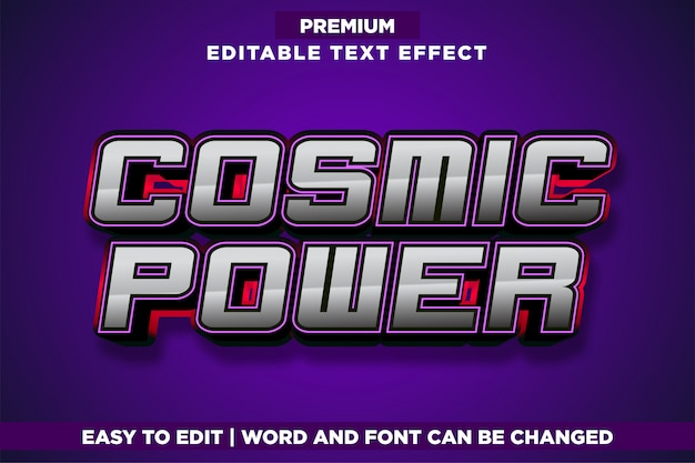 Cosmic power, editable game logo style text effect
