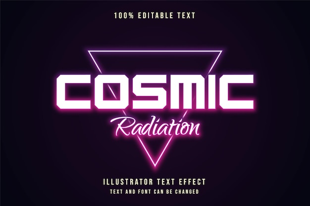 Cosmic radiation,editable text effect purple gradation orange neon text style