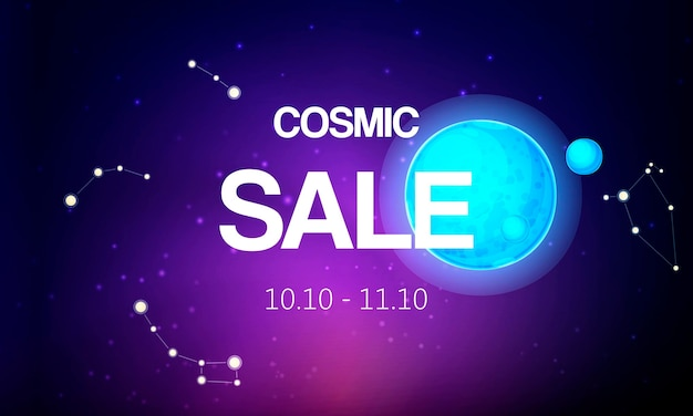 Cosmic sale banner vector illustration. spaceship travel to new planets galaxies.