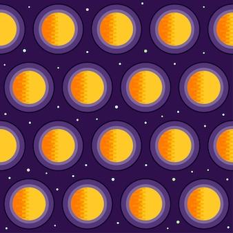 우주 원활한 패턴 배경입니다. 세련된 보라색 덮개에 격리된 밝은 주황색 태양과 별. 우주, 천문학 및 우주 테마. 열린 공간에서 행성입니다.