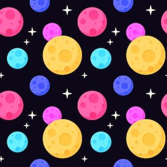 우주 원활한 패턴 배경입니다. 열린 공간에서 행성입니다.