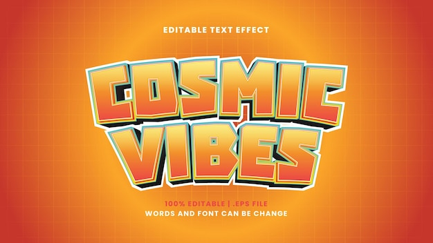 Cosmic vibes editable text effect in modern 3d style