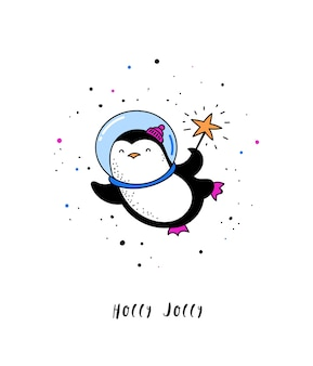 Cosmic xmas, space winter illustrations, santa, penguin, deer, fox and space ship