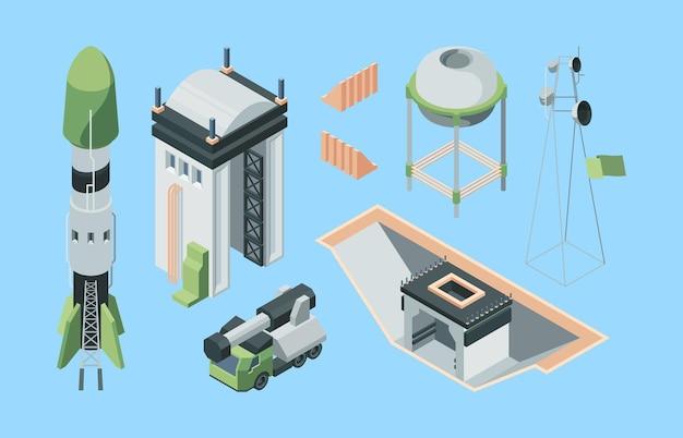 Изометрический набор оборудования космодрома