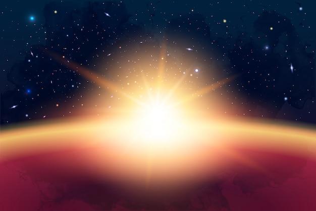 宇宙、銀河、太陽、惑星、星の宇宙論のイラスト。招待状や小冊子に使用できます。奥行きと空間の背景を持つ未来のビュー