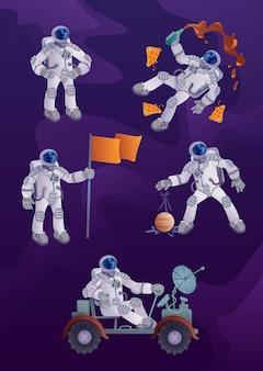 Комплект иллюстраций персонажа из мультфильма космонавта. астронавт в скафандре, исследование космоса, полет человека в космос. готов использовать один комический герой, набор шаблонов для рекламы, анимации, печати