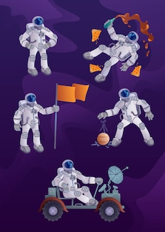 Cosmonaut  cartoon character illustrations kit. astronaut in spacesuit, space exploration, human spaceflight. ready to use one comic  hero set templates for commercial, animation, printing
