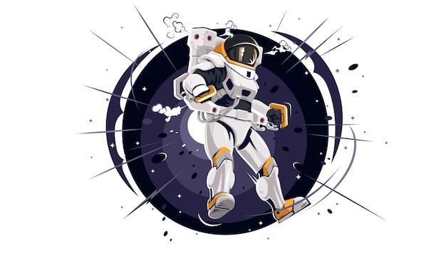 Космонавт в космосе. астронавт на орбите в просторах вселенной. подробный значок космонавта. концепция значок технологии науки изолированное движение. звезды в космосе. векторная иллюстрация eps