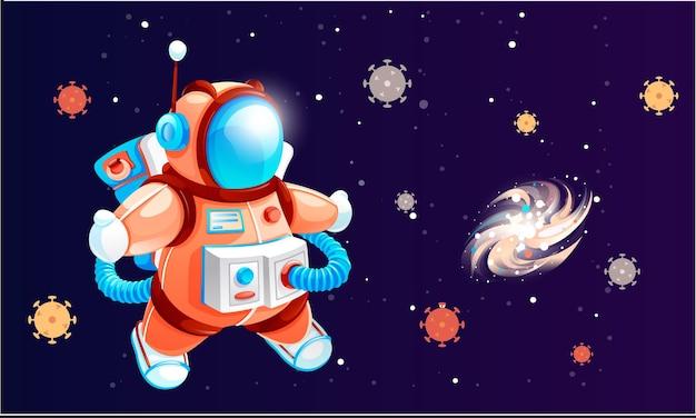 宇宙空間で宇宙服を着た宇宙飛行士