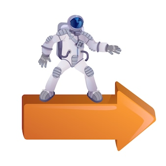Космонавт на правой стрелке плоский мультфильм векторные иллюстрации.