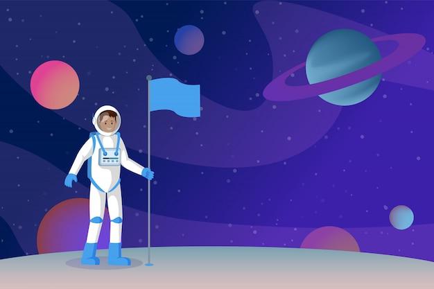 Cosmonaut setting flag flat