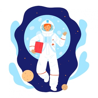 Cosmonaut space research woman character, female astronaut occupation professional researcher isolated on white, cartoon illustration.