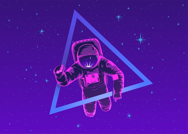 Cosmonaut in spacesuit performing spacewalk against stars and planets in background. flight in space. human spaceflight. modern colorful illustration.