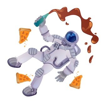 Cosmonaut with food cartoon illustration. astronaut with bottle and pizza pieces. ready to use 2d character template for commercial, animation, printing design. isolated comic hero