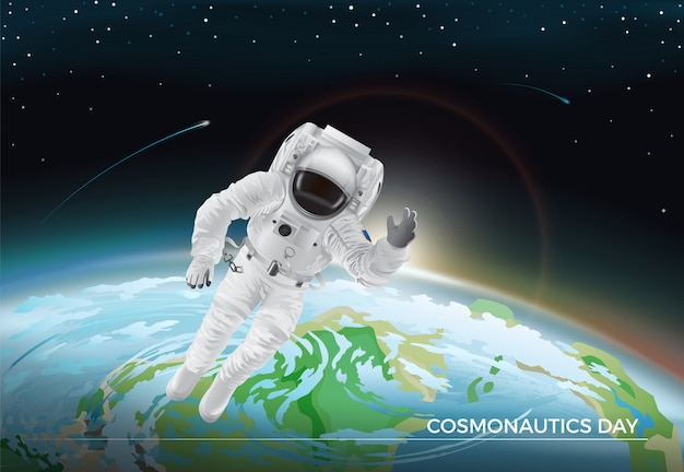 Cosmonautics day. vector illustration of flying cosmonaut in white suit in space. planet earth