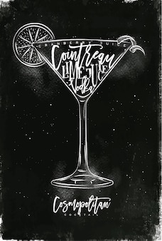 Cosmopolitan cocktail with lettering on chalkboard style
