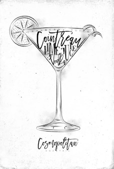 Cosmopolitan cocktail with lettering