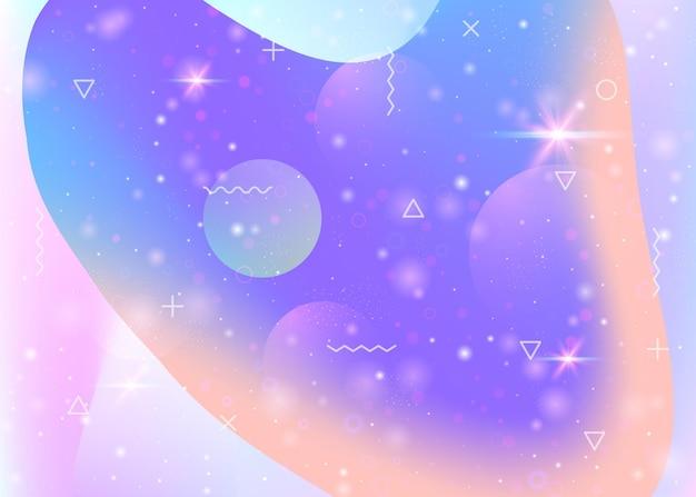 抽象的なホログラフィック風景と未来の宇宙と宇宙の背景。波状のグリッチとプラスチックの山のシルエット。 3d流体。未来的なグラデーションと形。メンフィスの宇宙の背景。
