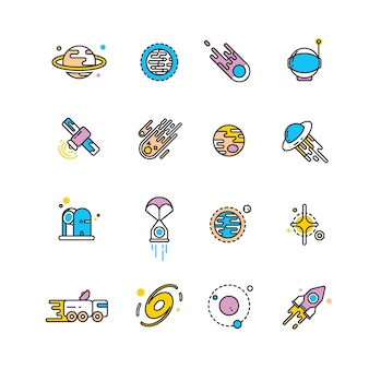 Cosmos exploration flat icons with planets and rockets
