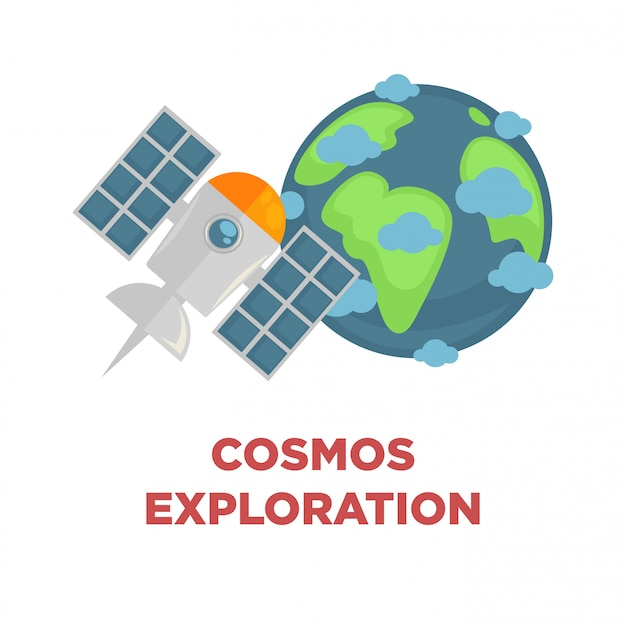 Cosmos exploration promo with earth and satellite