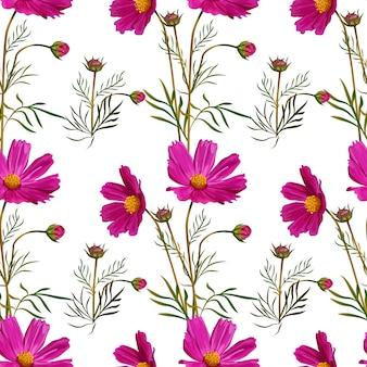Cosmos flower pink seamless pattern