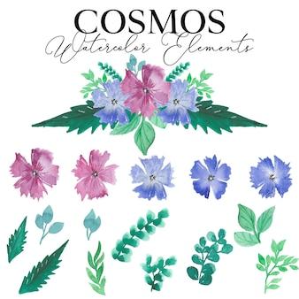 코스모스 꽃 수채화 요소 컬렉션