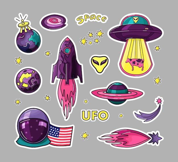 코스모스는 아이들을위한 스티커 세트입니다. 로켓, ufo, 행성, 별, 우주 비행사.