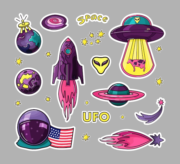 Cosmos is a set of stickers for kids. rocket, ufo, planets, stars, astronaut.