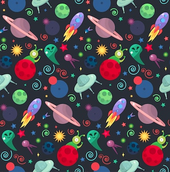 Cosmos and ufo concept in seamless pattern