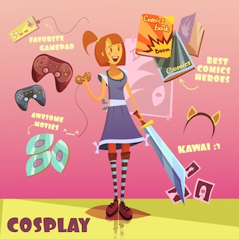 Cosplay character cartoon set